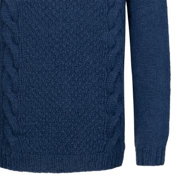 Handgestrickter Wollpullover mit Zopfmuster - dunkelblau