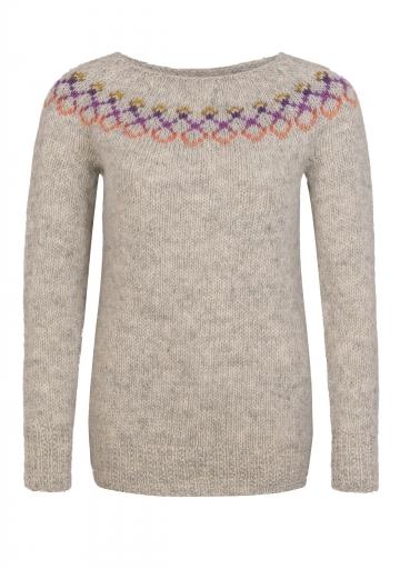 Leichter Damen Pullover - Handgestrickt - hellgrau / bunt