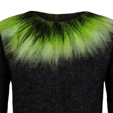 Dünner Damen Wollpullover - Nordlicht - schwarz / grün