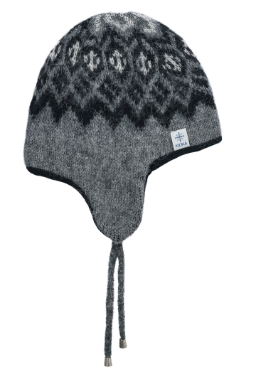 KIDKA 019 Wollmütze mit Fleece - grau-schwarz