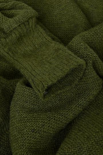 KIDKA 063 Damen Poncho mit Kapuze - moosgrün