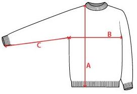 Einzelexemplar - handgestrickter Islandpullover - A = 74 cm, B = 54 cm, C = 50 cm
