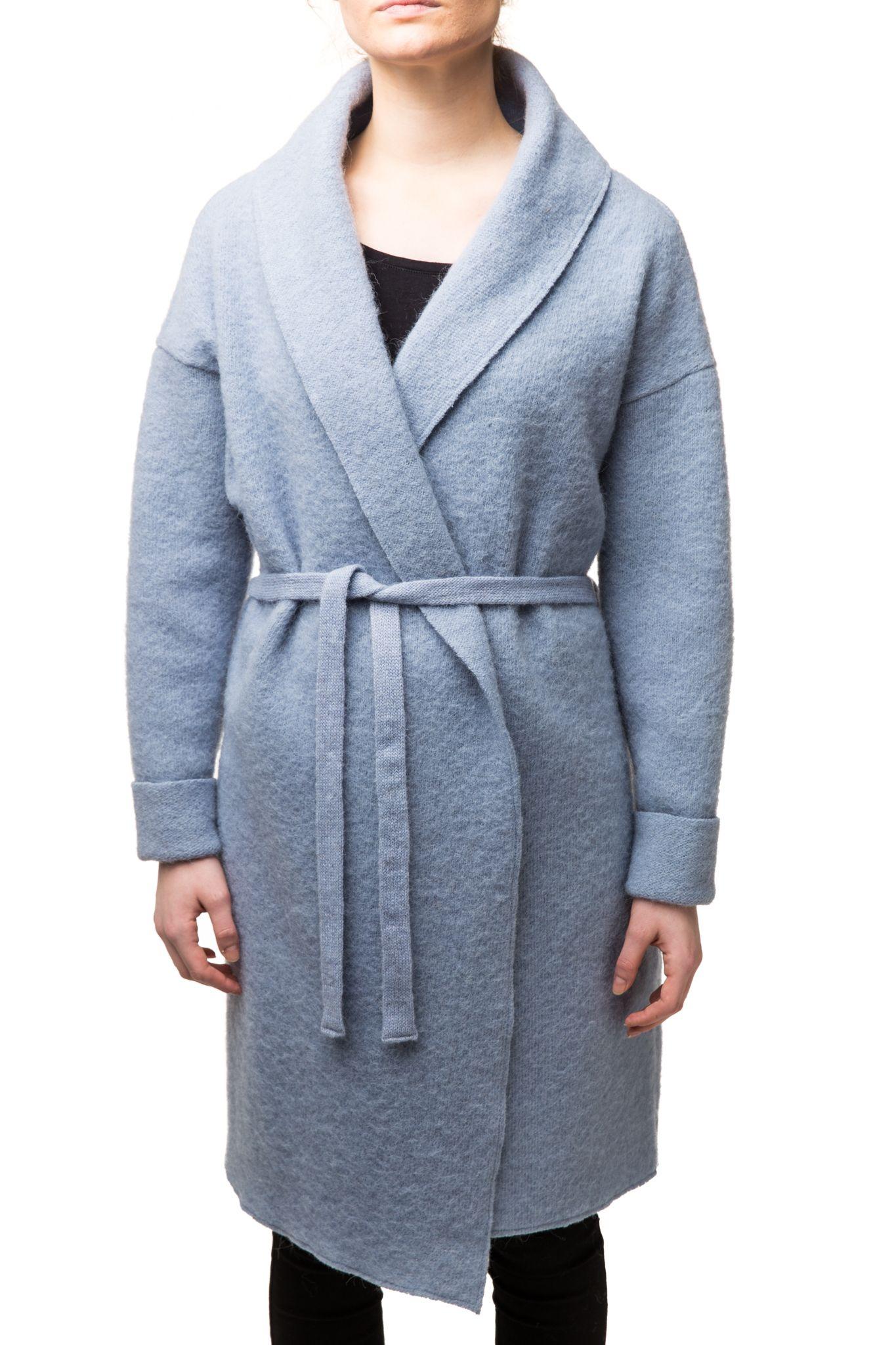 blauer damen woll mantel langmantel schurwolle varma st ssa ebay. Black Bedroom Furniture Sets. Home Design Ideas