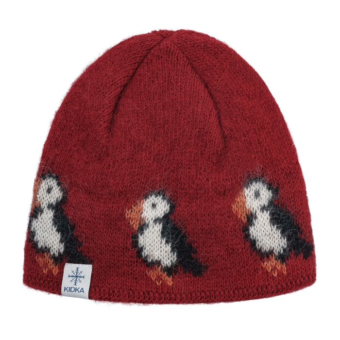 KIDKA 078 Knitted Wool hat - Puffin - red