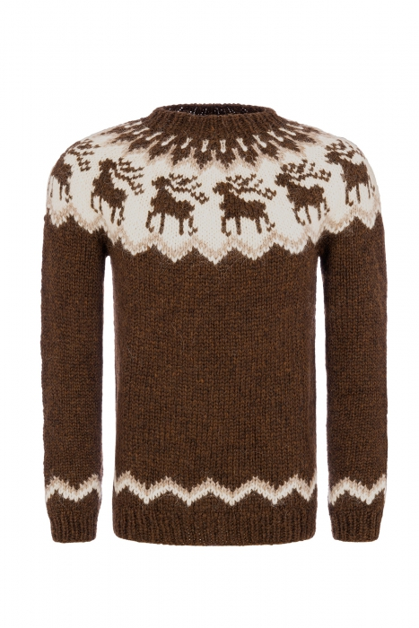 24dee05e3ab Hand-knit Icelandic Wool Sweater with reindeer motif - brown