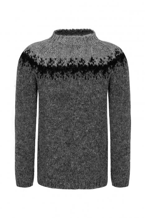 edc9f77ff24 Hand-knit Icelandic Wool Sweater - grey
