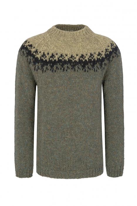 Handgestrickter Pullover - Schurwolle - grün   schwarz 0ac68d3ce7
