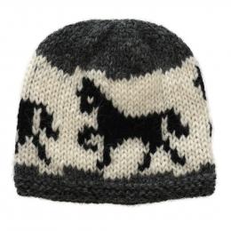 Bonnet de laine tricoté à la main - cheval islande - gris