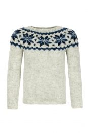 Handknitted Icelandic Sweater - grey / blue