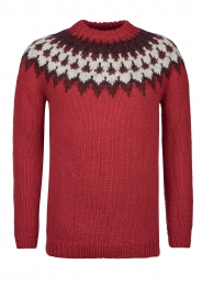 Icelandic Sweater - hand knitted - red