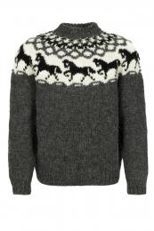 Handknitted Icelandic Sweater - Icelandic horse - grey