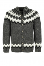 Handknitted Icelandic Cardigan with buttons - grey