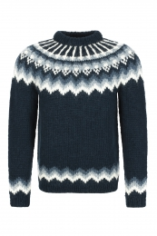 Hand-knit Icelandic Sweater HSI-207 - dark blue