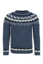 Hand-knit Icelandic Sweater HSI-208 - blue