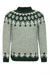 Hand-knit Icelandic Jumper HSI-210 - green combination