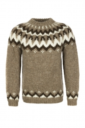 Hand-knit Icelandic Sweater HSI-211 - brown / dark brown
