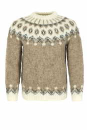 Hand-knit Lopapeysa HSI-212 - brown / white