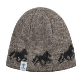 KIDKA 077 Woolen hat - Icelandic horse - light-brown