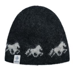 Bonnet de laine - cheval islande - noir