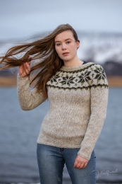 Handknitted Icelandic Sweater HSI-214 - grey / green