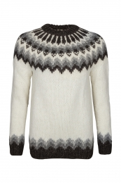 Hand-knit Icelandic Pullover HSI-215 - natural white / dark brown