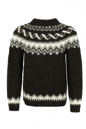 Hand-knit Icelandic Wool Sweater HSI-216 - dark brown