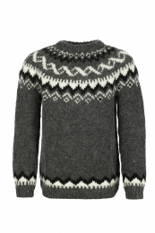 Hand-knit Icelandic Wool Sweater HSI-217 - dark grey