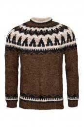 Hand-knit Icelandic Wool Sweater HSI-218 - brown