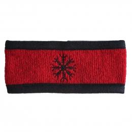 Islandwolle Stirnband mit Stickerei - Rot