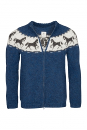 Hand-knit Icelandic Cardigan with zipper HSI-219 - blue