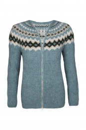 Hand-knit Icelandic Cardigan with zipper HSI-221 - turquoise
