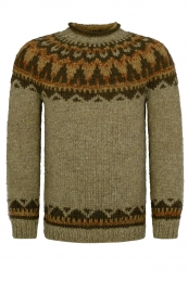 Hand-knit Icelandic Wool Sweater HSI-222 - green