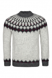 Traditional Icelandic Wool Sweater Hand-knit HSI-223 - light-grey
