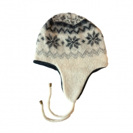 KIDKA 014 Icelandic Hat with Earflaps - white / black