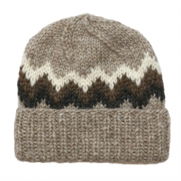 Handknitted Icelandic Woolen Hat - brown