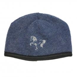 Damen Strickmütze Blau - Islandpferd