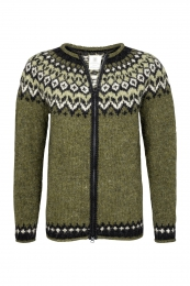 Riddari Hand-knit Icelandic Cardigan with zipper HSI-225 - green