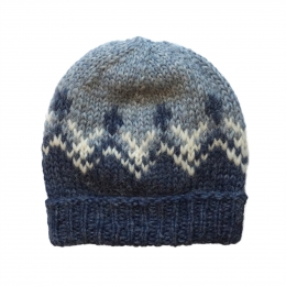 Handknitted Icelandic Woolen Hat - light blue