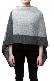 Damen Woll-Poncho - grau