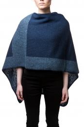 Damen Woll-Poncho - blau