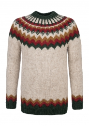Traditional Icelandic Wool Sweater Hand-knit HSI-229 - multi-coloured