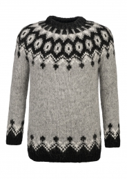 Hand-knit Icelandic Jumper HSI-230 - light grey - black