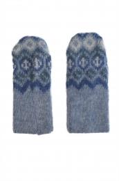 Woll-Handschuhe KID-027 - Rauten - Blau