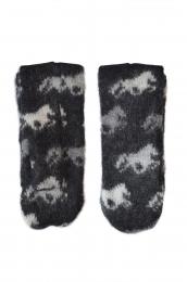 KIDKA 029 Mitaines de laine noir - cheval Islande