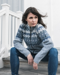 Womens Wool Cardigan - Icelandic Wool Sweater - Blue