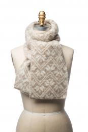 VARMA 059 - Schal mit Blattmuster - beige-weiss