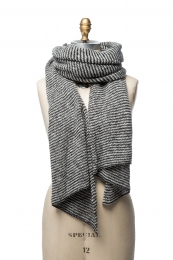 VARMA 062 - striped wool shawl - black-white