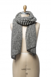 VARMA 064 - mixed striped wool shawl - black-white