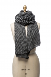 VARMA 066 - mixed striped wool shawl - black-grey