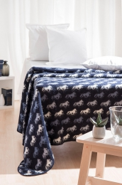 Tagesdecke Wolldecke Plaid Islandpferde - Blau
